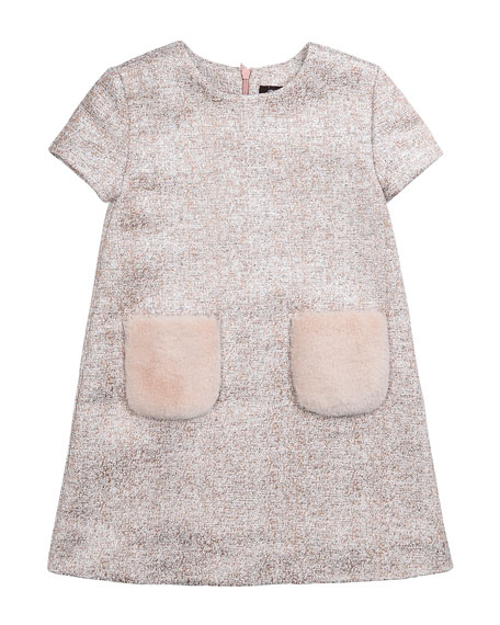 Imoga Tweed Dress with Faux Fur Pockets, Pink,