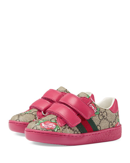 GG Supreme & Rose Bud Print Sneaker, Toddler