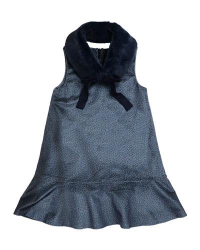 Penelope Velour Drop-Waist Faux-Fur Collar Dress, Blue, Size 8-14