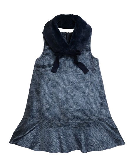 Imoga Penelope Velour Drop-Waist Faux-Fur Collar Dress, Blue,