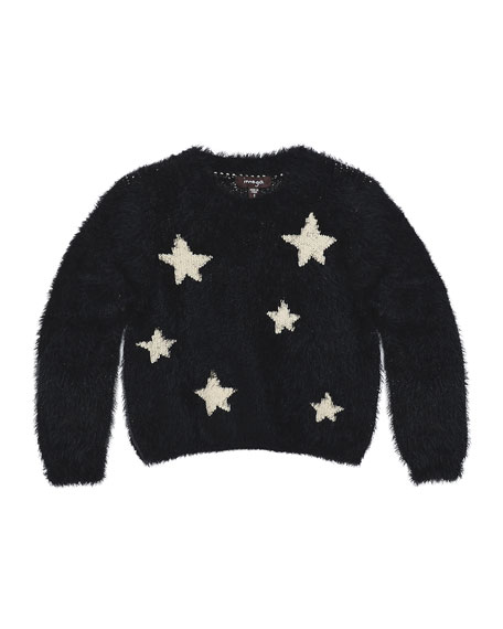 Chelsea Fluffy Knit Star Sweater, Black, Size 2-6