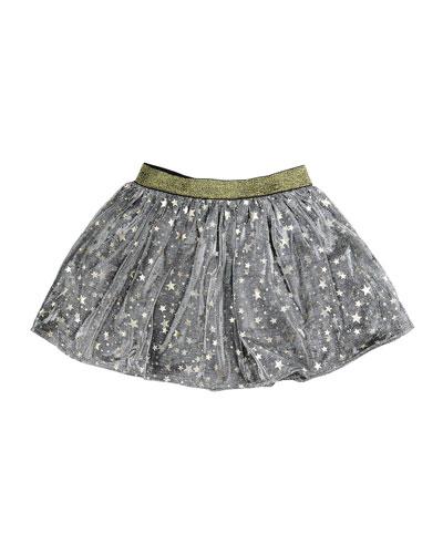 Helen Metallic Mesh Star Skirt, Gray, Size 8-14