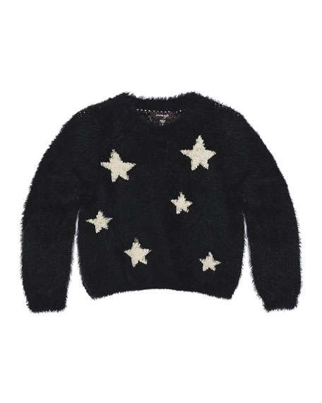 Imoga Chelsea Fluffy Knit Star Sweater, Black, Size