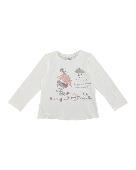 Mayoral Long-Sleeve Doll with Umbrella Tee, Size 3-7