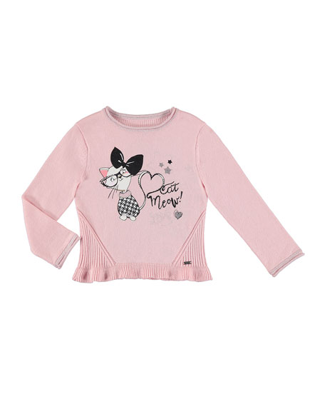 Kitty Knit Sweater, Size 3-7
