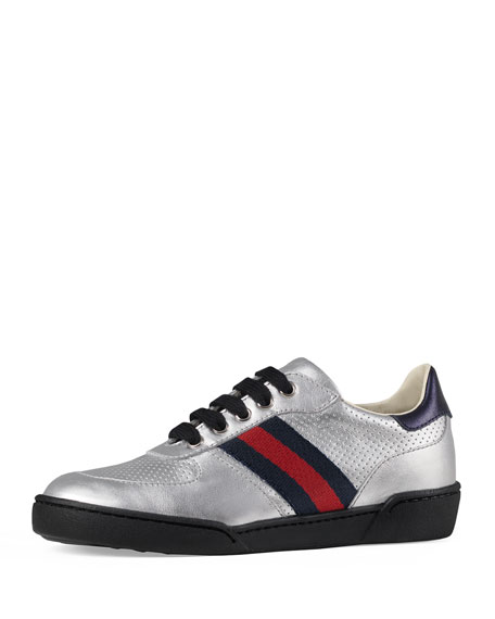 Gucci Metallic Leather Sneaker w/ Perforated Detail, Sizes
