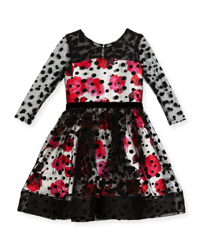 Audrey-Dots Roses Party Dress, Size 7-16