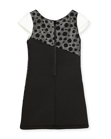 Contrast Tricolor Polka-Dot Dress, Size 4-6X