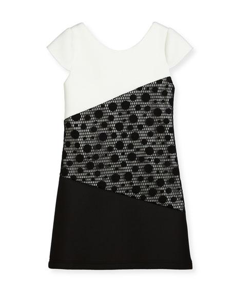 Zoe Contrast Tricolor Polka-Dot Dress, Size 7-16