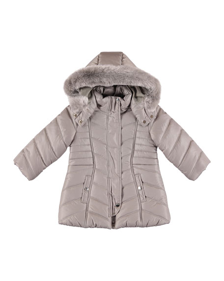 Mayoral Padded Coat w/ Faux Fur Hood, Size