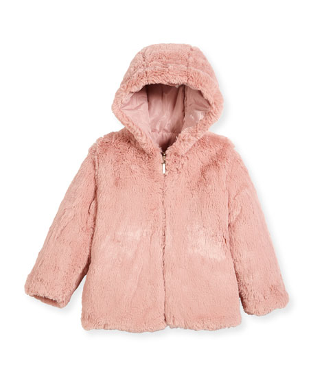 Reversible Faux-Fur Hooded Jacket, Size 3-7