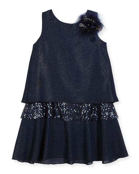Zoe Modern Milly Shimmer Layered Shift Dress, Size
