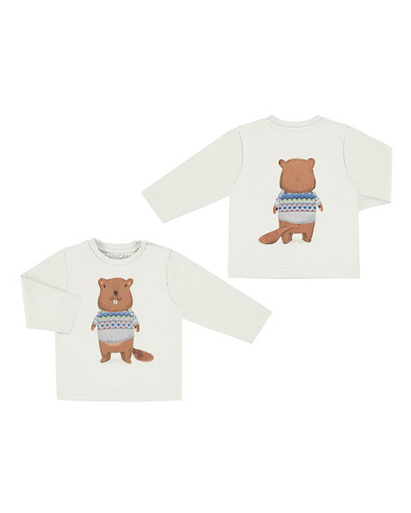 Mayoral Long-Sleeve Beaver Graphic T-Shirt, Size 6-36 Months