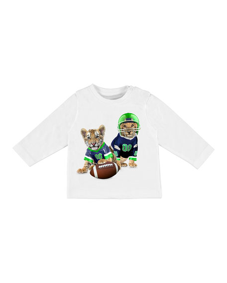 Long-Sleeve Animal Football Graphic T-Shirt, Size 6-36 Months