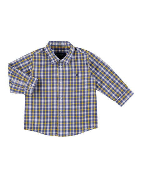 Mayoral Long-Sleeve Check Poplin Shirt, Size 6-36 Months