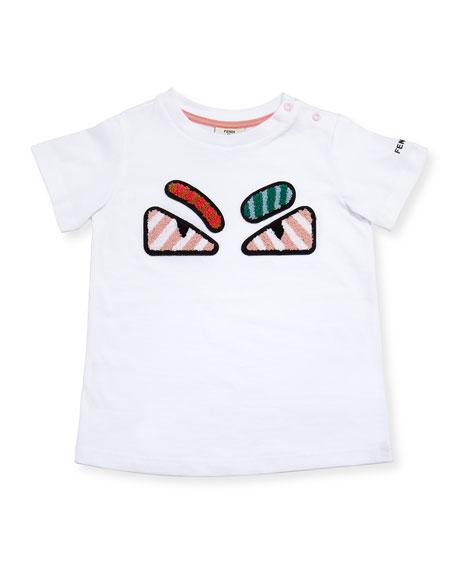 Fendi Girls' Short-Sleeve Embroidered Monster Eye T-Shirt, Size