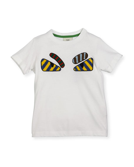 Fendi Boys' Short-Sleeve Embroidered Monster Eye T-Shirt, Size