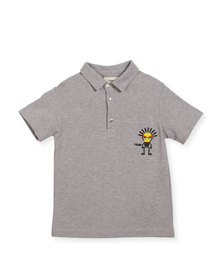 Fendi Boys' Short-Sleeve Polo with Light Bulb Detail,