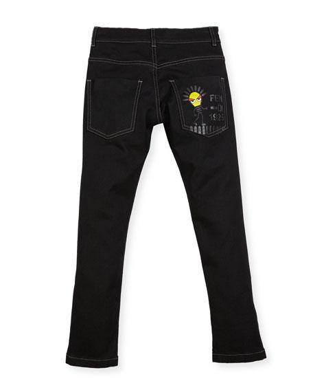 Boys' Denim Pants with Light Bulb Detail, Size 6-8