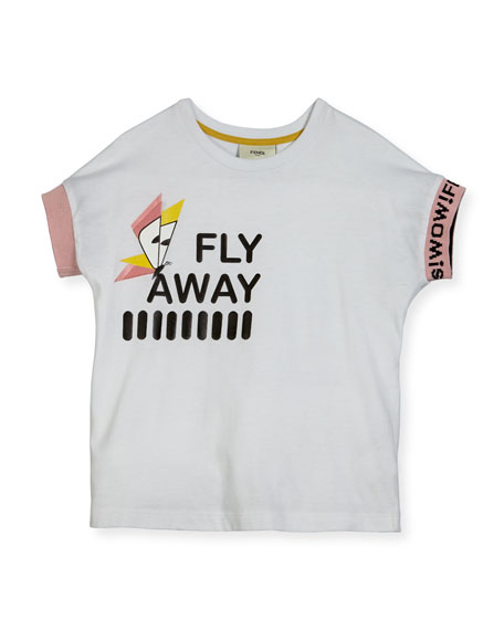 Fendi Girls' Short-Sleeve Fly Away T-Shirt, Size 3-5