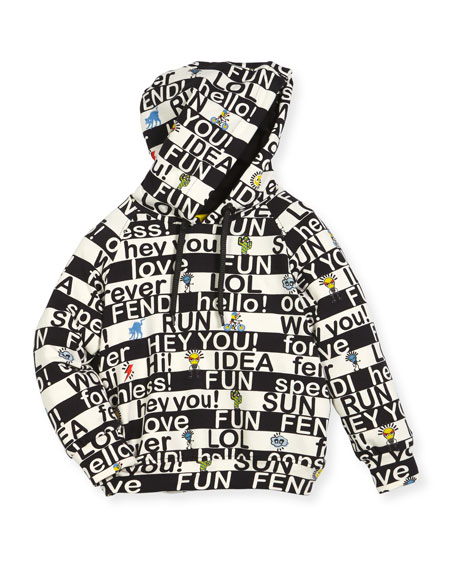 Fendi Boys' Allover Words Graphic Hooded Sweatshirt, Size