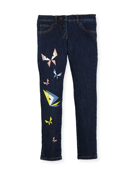 Fendi Girls' Butterfly Eyes Denim Pants, Size 10-14