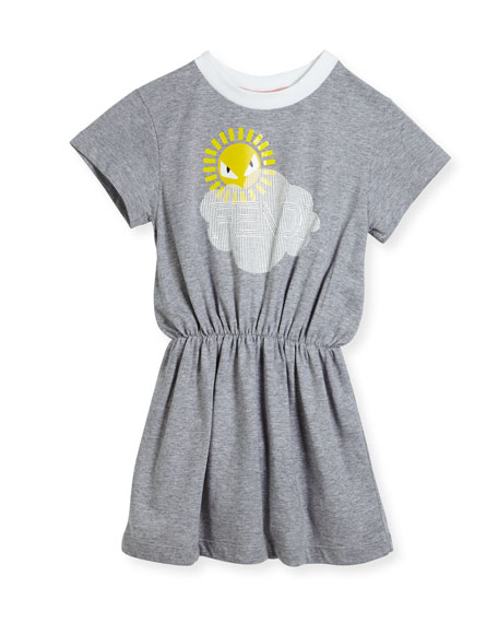 Fendi Short-Sleeve Logo Cloud Sun Graphic Dress, Size