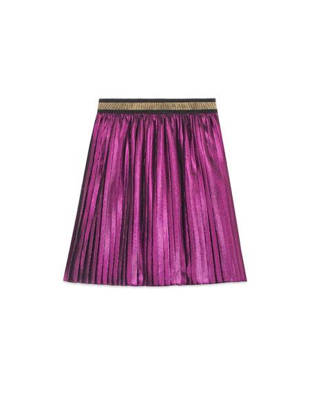 Gucci Metallic Pleated Skirt, Size 4-12