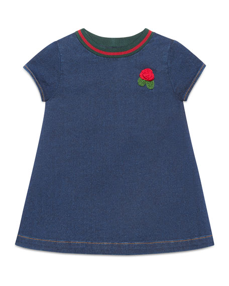 Gucci Short-Sleeve Denim Rose Dress, Size 9-36 Months