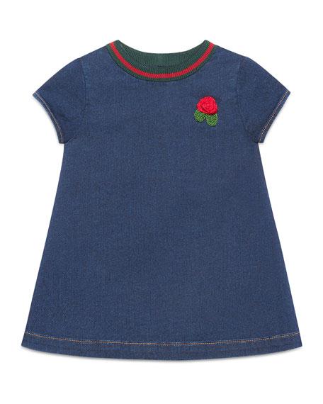Gucci Short-Sleeve Denim Rose Dress, Size 9-36 Months