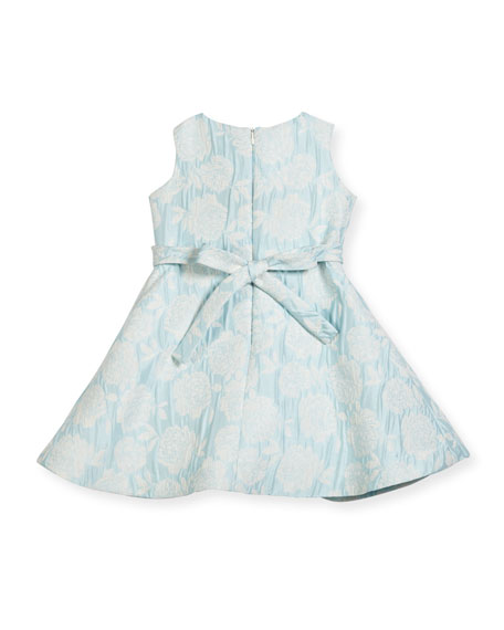 Floral Jacquard Cross-Pleated Dress, Size 7-14
