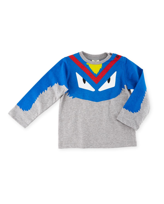 8784714a1 Fendi Boys' Long-Sleeve Monster Eyes Graphic T-Shirt, Size 12-24 ...