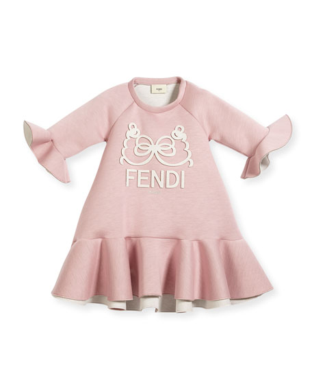 Fendi Ruffle-Hem & Bell-Sleeve Logo Dress, Size 6-8