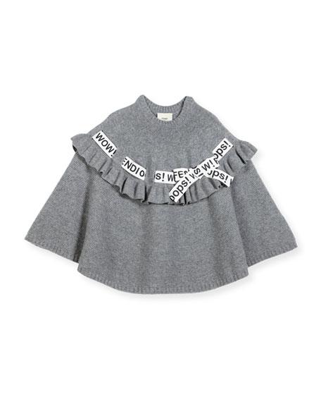 Fendi Girls' Logo Ribbon Poncho, Size M-L and