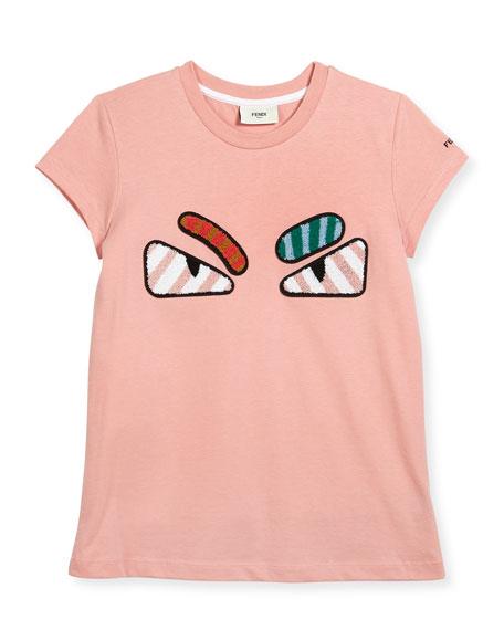 Fendi Girls' Short-Sleeve Embroidered Monster Eye T-Shirt, Pink,
