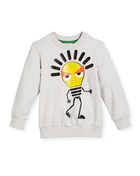Fendi Boy's Long-Sleeve Light Bulb Sweatshirt, Size 6-8