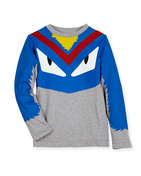 Fendi Boys' Long-Sleeve Monster Eyes Graphic T-Shirt, Size