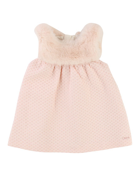Sleeveless Faux-Fur Dress, Size 2-3