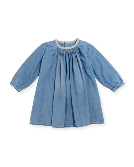 Chloe Long-Sleeve Light Denim Dress, Size 2-3