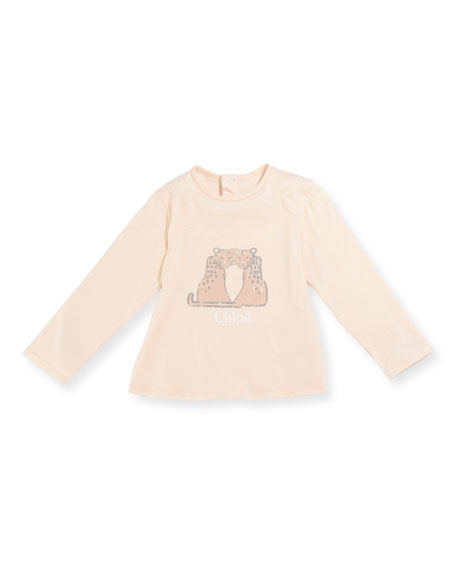 Chloe Leopard Graphic Long-Sleeve T-Shirt, Size 2-3