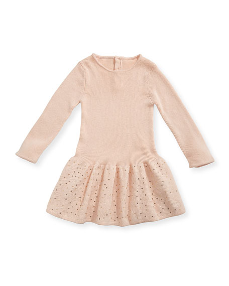 Chloe Long-Sleeve Knitted Sequin Dress, Size 12-18 Months