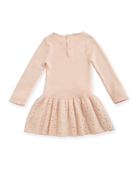 Long-Sleeve Knitted Sequin Dress, Size 2-3