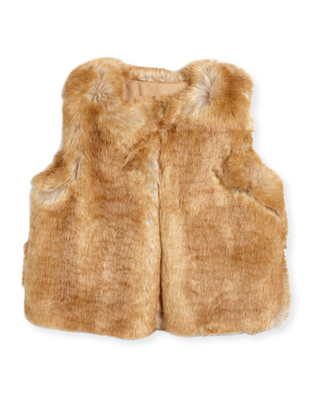 Chloe Sleeveless Faux-Fur Vest, Size 6-10