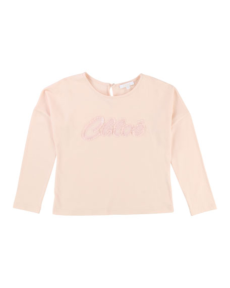 Chloe Long-Sleeve Logo Embroidered T-Shirt, Size 4-5