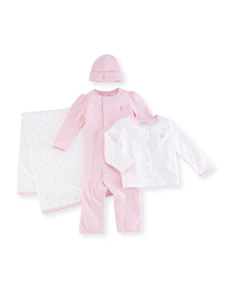 Ralph Lauren Childrenswear 4-Piece Layette Set, Pink, Size