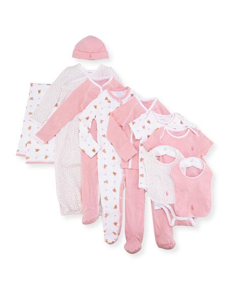 Ralph Lauren Childrenswear 11-Piece Boxed Layette Set, Pink,