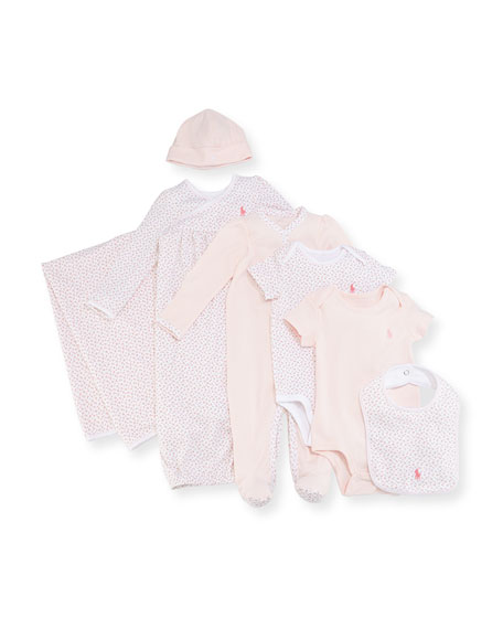 Ralph Lauren Childrenswear 7-Piece Boxed Layette Set, Pink,