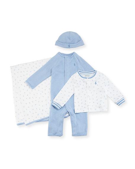 Ralph Lauren Childrenswear 4-Piece Boxed Layette Set, Blue,