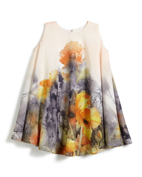 Helena Border Floral Swing Dress, Size 2-6 and