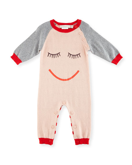 Tommy Knit Coverall w/ Face Print, Size 3-9 Months